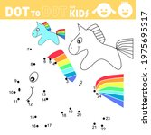 unicorn. dot to dot games for... | Shutterstock .eps vector #1975695317