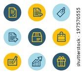 shopping web icon set 1   blue... | Shutterstock .eps vector #197570555