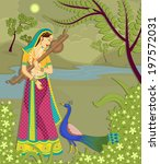 Lady with peacock in Indian art style