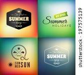 retro styled summer... | Shutterstock .eps vector #197575139