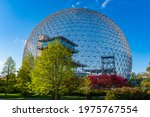 Small photo of Montreal, Canada - May 2021: beautiful spring view of the Biosphere located on Saint Helen's Island.