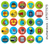 shopping flat icons with long... | Shutterstock .eps vector #197577575