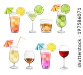 collection of alcohol cocktails ... | Shutterstock .eps vector #197586071