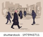 gentleman walking illustration... | Shutterstock .eps vector #1975943711