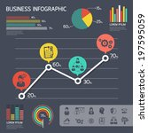 Business graph modern Infographic set with charts and other elements. Vector illustration.  - stock vector
