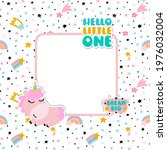 a photo frame with a unicorn... | Shutterstock .eps vector #1976032004