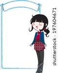 vector cute girl with banner | Shutterstock .eps vector #197604671