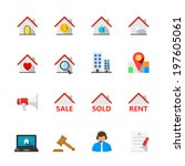 real estate icons   flat icon... | Shutterstock .eps vector #197605061