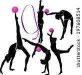set of silhouettes girl gymnast ...   Shutterstock .eps vector #197608514