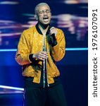 Small photo of Rotterdam, Netherlands. 13th May 2021. Benny Cristo, representing Czech Republic performing the song Omaga at the rehearsal of the Eurovision song contest 2021