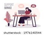 cute woman in headphones helps...   Shutterstock .eps vector #1976140544