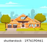 house destroyed by earthquake.... | Shutterstock .eps vector #1976190461
