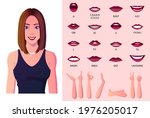 beautiful woman mouth animation ...   Shutterstock .eps vector #1976205017