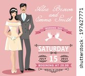 the wedding invitation with... | Shutterstock .eps vector #197627771