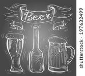 vector chalk beer on chalkboard ...   Shutterstock .eps vector #197632499