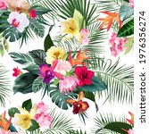 exotic tropical flowers  orchid ... | Shutterstock .eps vector #1976356274
