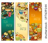 tea  coffee and sweets doodle... | Shutterstock .eps vector #197639144