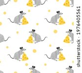 seamless rat and cheese pattern....   Shutterstock .eps vector #1976405561