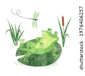 cartoon lazy frog on lily pad.... | Shutterstock .eps vector #1976406257