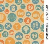 travel seamless pattern. vector ... | Shutterstock .eps vector #197647685