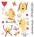 set of cute fantastic monsters. ... | Shutterstock .eps vector #1976481104