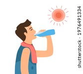 man suffering from heat and... | Shutterstock .eps vector #1976491334