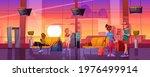 travelers in airport waiting... | Shutterstock .eps vector #1976499914
