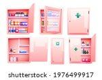 medicine cabinet  cupboard with ... | Shutterstock .eps vector #1976499917