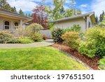 backyard with green lawn ... | Shutterstock . vector #197651501