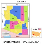 arizona map. state and district ... | Shutterstock .eps vector #1976609564