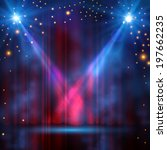 spotlights on stage curtain... | Shutterstock .eps vector #197662235