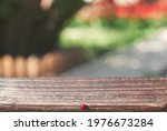 A Wooden Table And A Ladybug On ...