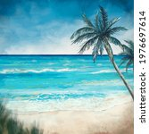 Watercolor Sea And Beach...