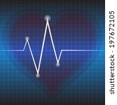 blue ekg tracing with heart on... | Shutterstock .eps vector #197672105