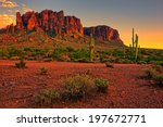 sunset view of the desert and... | Shutterstock . vector #197672771