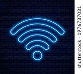 neon wifi icon  logo. vector... | Shutterstock .eps vector #1976737031