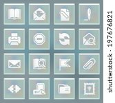 email white icons on blue... | Shutterstock .eps vector #197676821