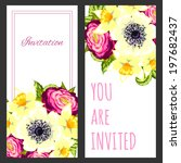 set of invitations with floral... | Shutterstock . vector #197682437
