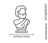 Ancient statue linear icon. Art history. Ancient greek sculpture. Sculpted philosopher bust. Thin line customizable illustration. Contour symbol. Vector isolated outline drawing. Editable stroke