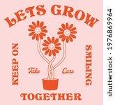 retro happy flower vector art...   Shutterstock .eps vector #1976869964