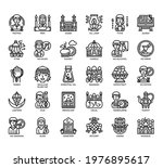 set of ramadan thin line and... | Shutterstock .eps vector #1976895617