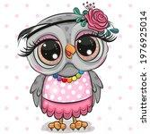 cute cartoon owl on a dots... | Shutterstock .eps vector #1976925014