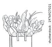 hand drawn vegetables in  paper ... | Shutterstock .eps vector #1976927021