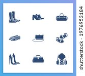 shoes icon set and clutch with...