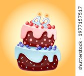 forty two years birthday cake... | Shutterstock .eps vector #1977157517