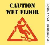 wet floor caution sign. wet...   Shutterstock .eps vector #1977170504