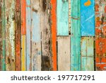 very old painted pieces of woods | Shutterstock . vector #197717291