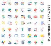 seo icons on white background ... | Shutterstock .eps vector #197717999