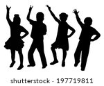 children dancing silhouette... | Shutterstock .eps vector #197719811