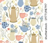 herbal seamless pattern with... | Shutterstock .eps vector #1977198797